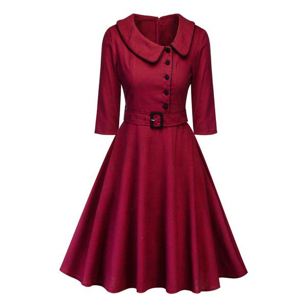 Spring and autumn dress new 2019 women's Elbow sleeve doll collar dress Bohemian lattice Skirt restoring ancient ways skirt