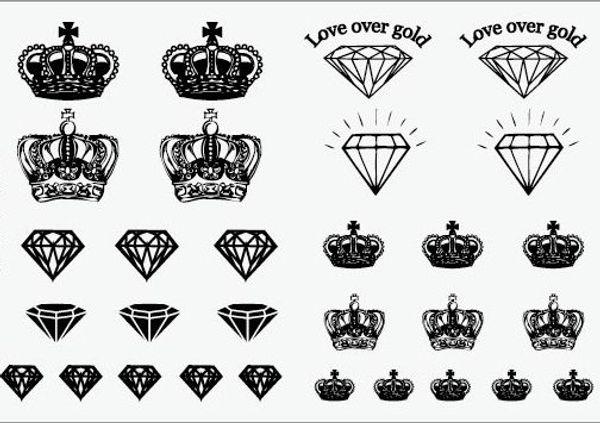 Crown and Diamond black temporary tattoo sticker tatoo womens body stickers face gems hand body back shoulder Neck arm WM012