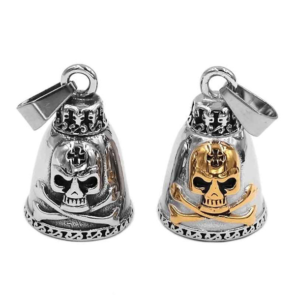 Cross Skull Biker Bell Pendant Stainless Steel Heavy Silver Gold Skull Bones Men Pendant 509B (Has steel ball, no bell sound)