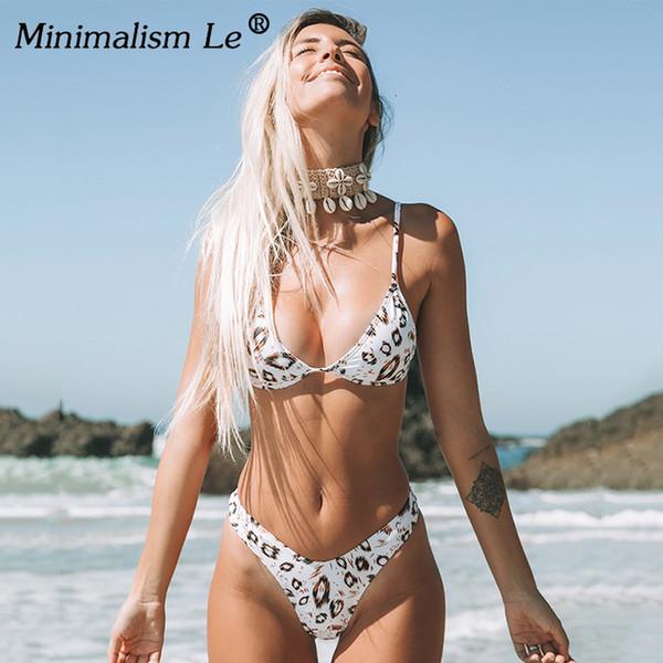 섹시한 표범 무늬 비키니 세트 여성의 새로운 하이 컷 수영복 수영복 낮은 허리 브라질 비키니 삼각 수영복 비치웨어