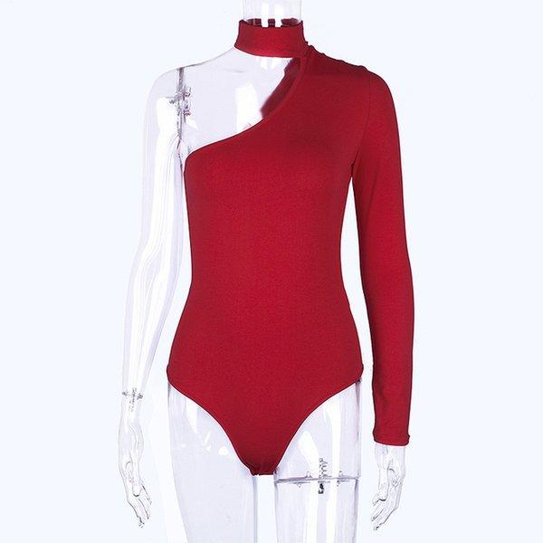 red bodysuit one shoulder