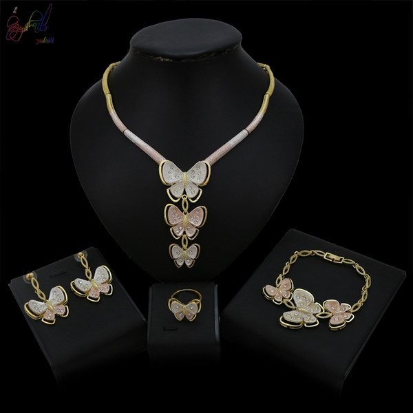 Yulaili Unique Top Design Butterfly Three Pendant Dubai Gold Color Jewelry Sets Costume Jewellery For Women Wedding Bridal Free Shipping