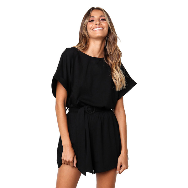Feitong women's playsuits short sleeves loose solid color casual jumpsuit with belt elegant rompers combinaison femme 2019