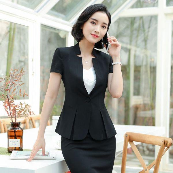 OL Classic Short Sleeve Suit Business Blazer Feminino Office Women Formal Suits Work Wear