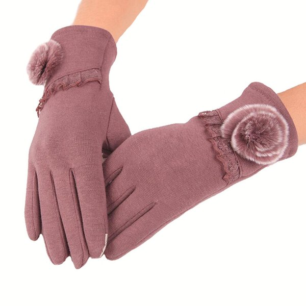 ygyeeg fashion women cashmere gloves autumn winter cute bow warm warmer mitts full finger mittens touched screen female gloves