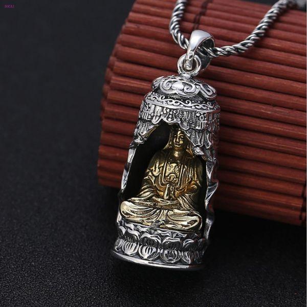 S990 reines Silber Retro Persönlichkeit Ursprünglichkeit Avalokiteshvara Anhänger Buddha Statue Strickjacke-Ketten-Anhänger für Männer und Frauen
