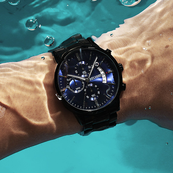 Reloj de hombre BELUSHI Hombre de gama alta Relojes casuales de negocios Reloj de pulsera de cuarzo deportivo impermeable para hombre relogio masculino