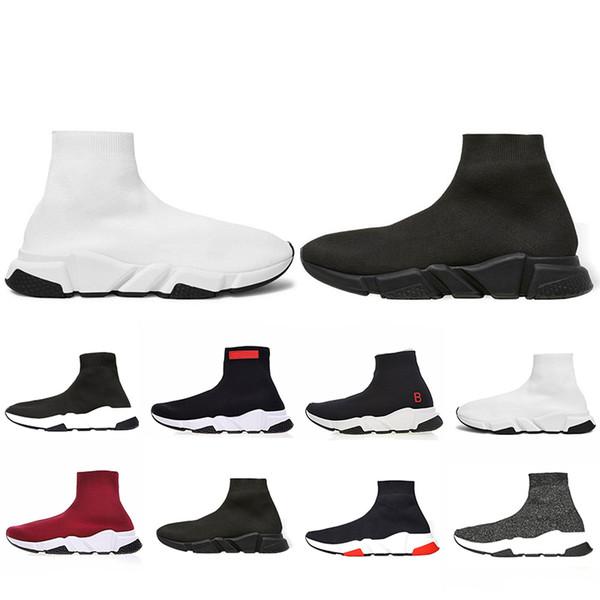 scarpe balenciaga Venta caliente Calcetín diseñador Speed Trainer Brand Shoes negro blanco rojo plana Moda Calcetines Botas Zapatillas de deporte Entrenadores Runner tamaño 36-45