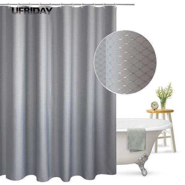 UFRIDAY Shower Curtain Waffle Weave Pattern Durable Charcoal Fabric Bathroom Curtain Waterproof Mildew Resistant Bath