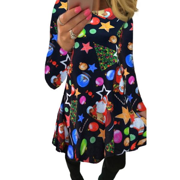 Winter Autumn Christmas Dress Women Plus Size Print Dress Midi Snowflake Long Sleeve A-line Party Dress Female designer clothes