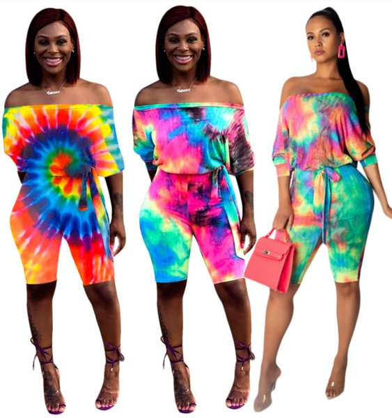 Plus Size Women Jumpsuits Rompers Slash Neck Long Sleeve Shorts One Piece Overalls Colorful Summer Clothes S-3XL Sexy Bodycon Pant 770