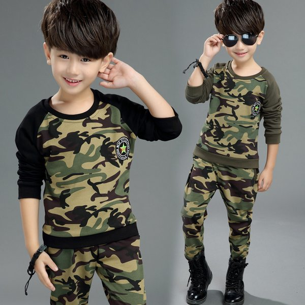 Hot Kids Sets Spring and Autumn New Boy Fashion Camouflage Two-piece Large Children's Long-sleeved Cotton Casual Sports Suit