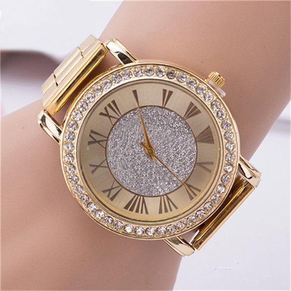 Famoso lujo pulsera de cristal de cuarzo reloj de pulsera damas mujeres oro rosa michael relojes de acero inoxidable regalos de Navidad para niñas al por mayor
