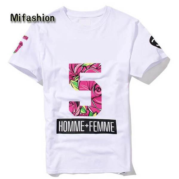 Europe New Summer Homme Femme NO 5 Fashion High quality Side Zipper Tee T-Shirts Men Women Flower Floral Print Short Sleeve Tshirt