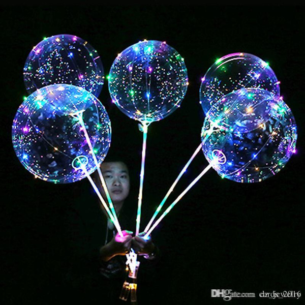 Luminous LED Balloons Transparent Clear BoBo Balloon 18 inch Light Colorful Wave Helium Ball for Birthday Wedding Christmas Party Decorative