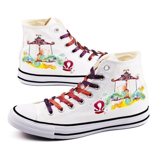 Hand Painted Style Libra Zodiac Sign Printed Lovers Couples Canvas Shoes Color Lace-up Men Casual Flats Espadrilles Sapatos