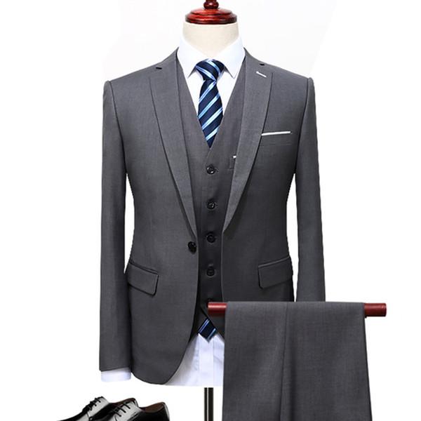 men's business casual suits sets / male three-piece suit vest+blazers+pants jacket coat trousers waistcoat / size s-5xl - from $70.40