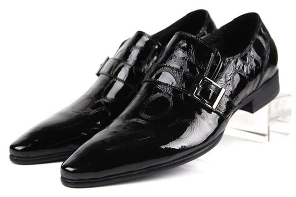 Large Size EUR45 Fashion Black Loafers Mens Dress Shoes Patent Leather Business Shoes Male Wedding Shoes With Buckle