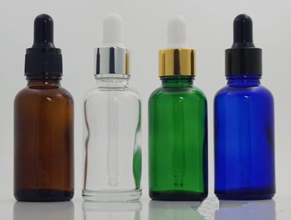 ecig vape 30ml flacone contagocce di vetro eliquido ambra blu verde chiaro oro bianco manomissione tappo tappo ejuice bottiglia di profumo di olio essenziale
