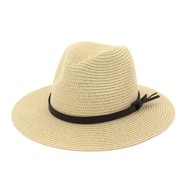 2019 summer straw hat with thin ribbon women wide brim jazz beach hat sun sun block UV protection panama AD0852