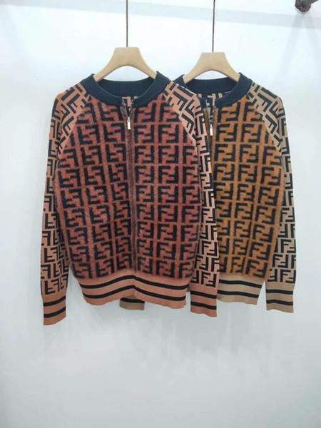 Autumn Cardigan Jacket Womens New European and American Mink Hairline Silk Core Letter Knit Jacket Retro Cardigan Jacket