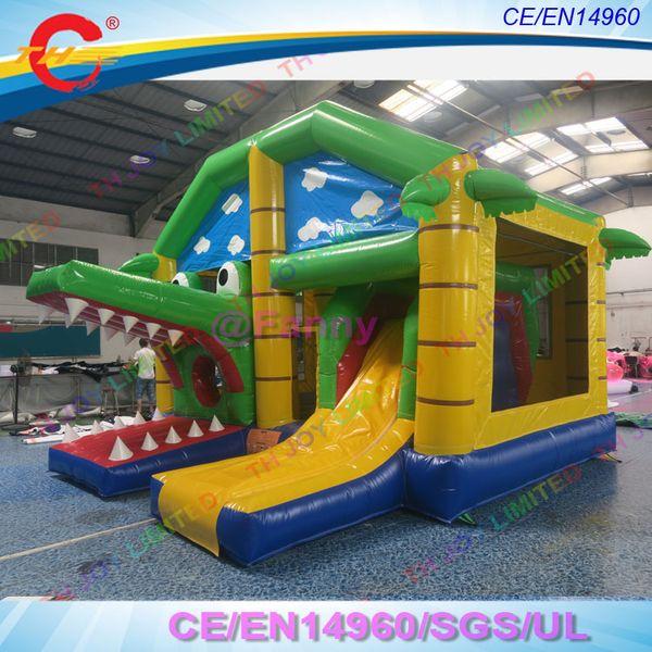 2019 nouvelle château gonflable 5x4m crocodile gonflable maison de rebond, 3 en 1 crocodile gonflable château sautant toboggan gonflable
