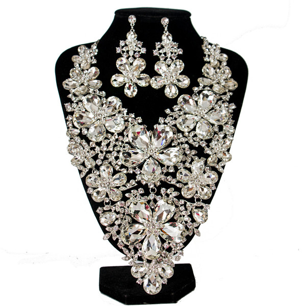 Charming Silver Red Blue Crystals Jewelry 2 Pieces Sets Necklace Earrings Bridal Jewelry Bridal Accessories Wedding Jewelry T227373