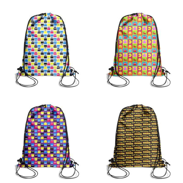 Pac-Man Cartoon Printing Unicorn Drawstring Bags non-woven pony Backpack students Shoulder storage pouch cute convenient backpack for in
