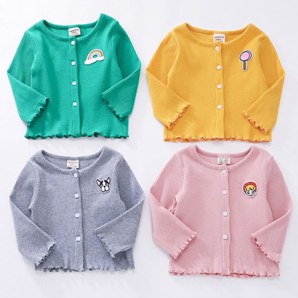 Solid Color Crochet Baby Cardigan Round Neck Long Sleeve Baby Girl Clothes Cotton Knit Cardigan Sweater 19030702