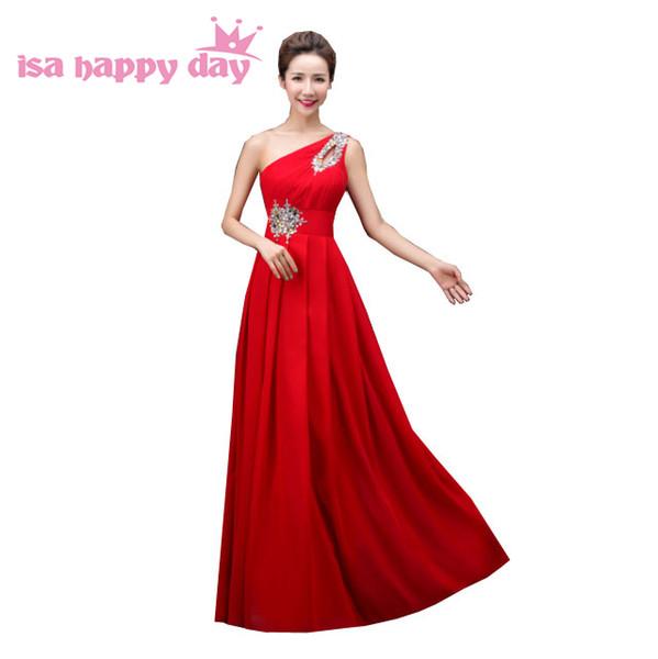 Compre Vestido De Festa De Champanhe Vermelho Mulheres Um Ombro Longa Deusa Grega Da Dama De Honra Vestidos De Menos De 100 Para Convidados Do