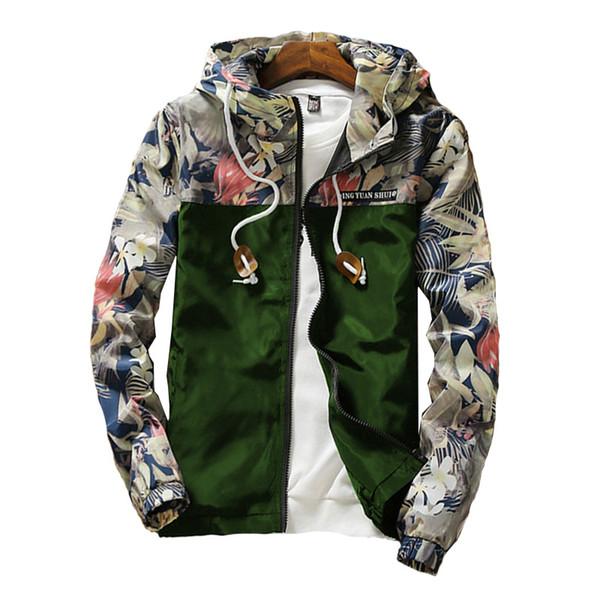 2019 Fashion Casual Floral Zipper Pockets Men's Broken Flower Camouflage Jacket Blue Green Men Jackets White Blue Black Coats