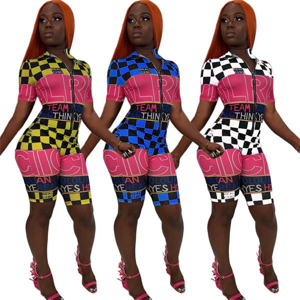 Women Designer Shorts Jumpsuit Plaid Letter Rompers Bodycon Front Zipper Pant Short Sleeve Lapel Neck Jumpsuit Casual Summer Clothes 365 722