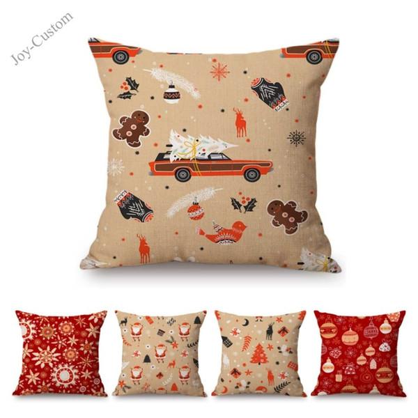 Orange Red Christmas Seamless Pattern Cartoon Santa Claus Snowflake Home Decorative Sofa Cushion Cover Cotton Linen Pillow Case