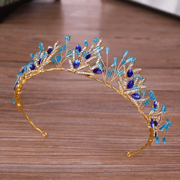 Luxury Blue Crystal Handmade Bridal Hairbands Tiaras For Women Top Quality Gold Queen Style Hairwear Accessory Wholesale HG102