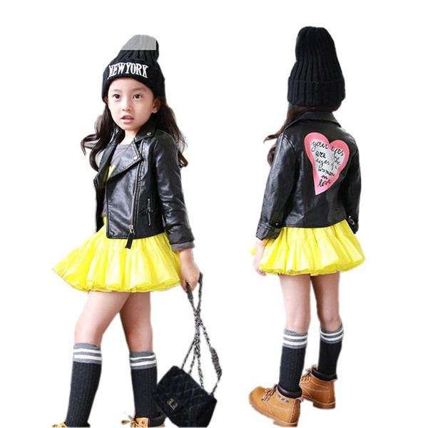 classical causal girl leather jacket coat solid lolita style PU leather jacket for 2-8years girls kids children cool jacket leather clothing