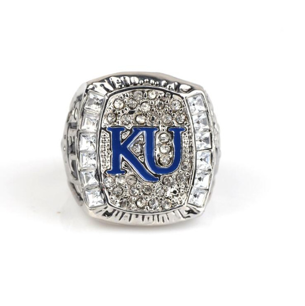 NCAA 2008 University of Kansas Raven Eagle Championship Ring Men's Jewelry Friends Birthday Gift Fan Memorial Collection