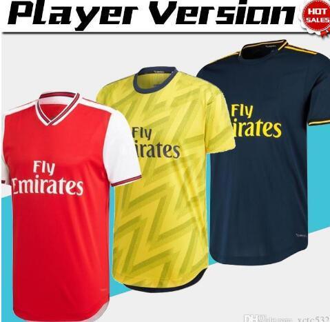 2020 Player Versão Artilheiro Início Red Futebol 19/20 Homens distância amarelas uniformes de futebol camisas personalizadas Futebol na venda