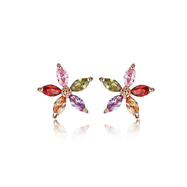 New fashion floral design earrings Popular luxury cubic zirconia engagement wedding party earrings Jewelry gift 5-ER0070
