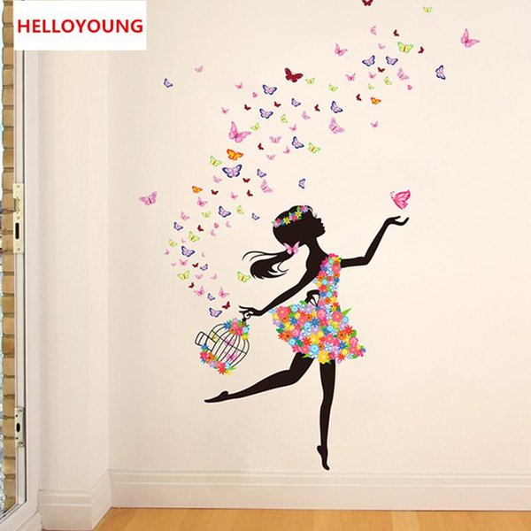 QT-0230 DIY Home Decorative Butterfly Fairy Dance Vinyl Wall Stickers Bed Rooms Waterproof Wallpapers Mural All-match Style
