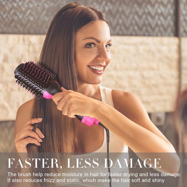 One-Step Sèche-cheveux Volumizer Salon Hot Air Paddle Styling Brush d'ions négatifs Générateur Lisseur Bigoudi DHL