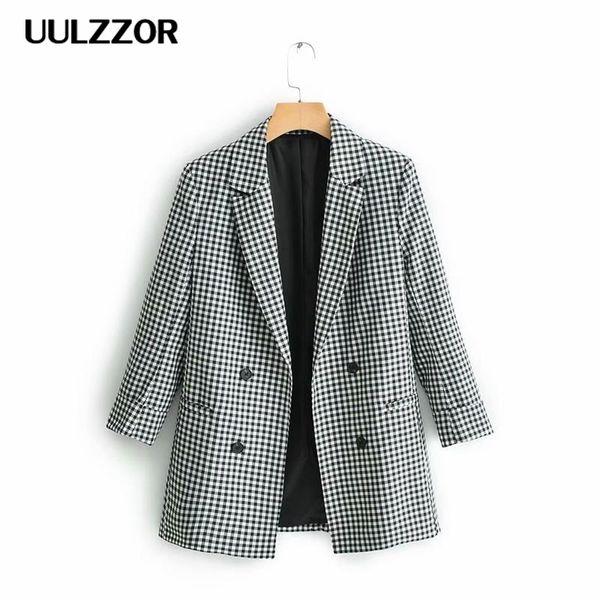 UULZZOR elegante Frauen Blazer Anzug 2019 Büro Damenmode Blazer mit gekerbtem Kragen Jacken koreanischen Mädchen Casual Outfits Anzüge