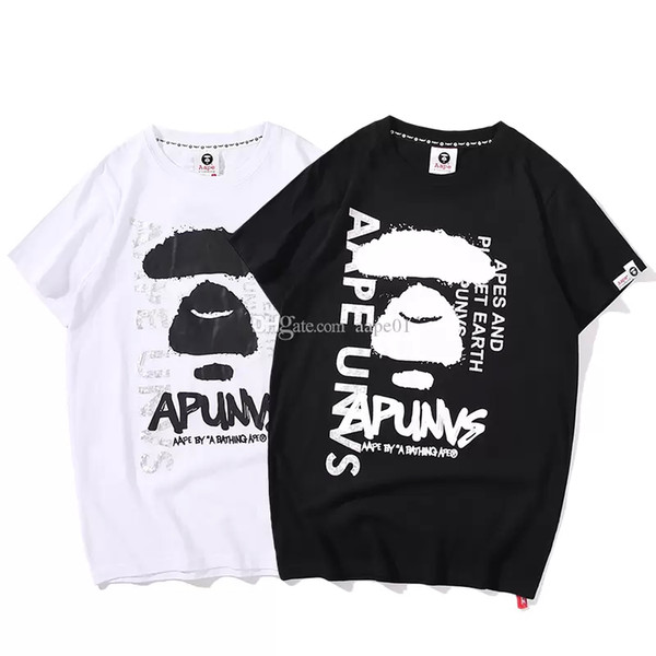 Aape Mens Designer T Shirt Men Women Couple High Quality Short Sleeves Black White Luxury Mens Summer Designer T Shirt S-2XL