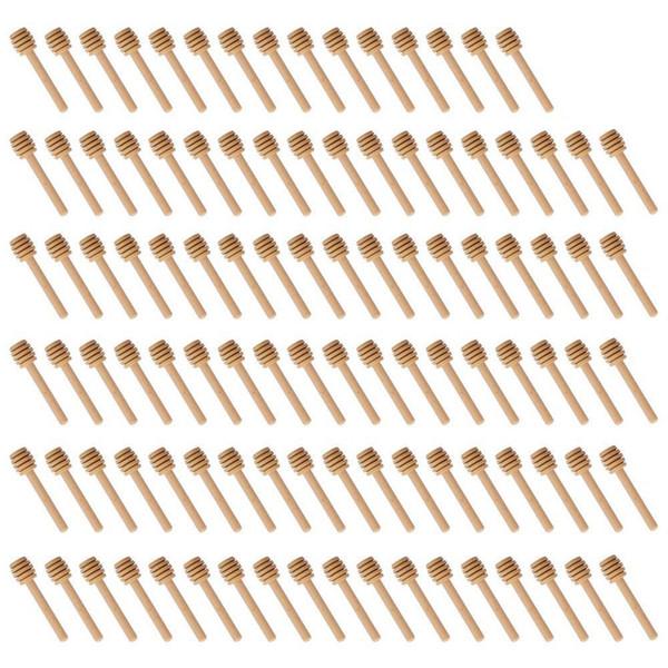 Vendita calda 100 confezione di mini bastoncini di legno miele dipper di 3 pollici, confezionati singolarmente, server per miele Jar dispenser Drizzle Honey,