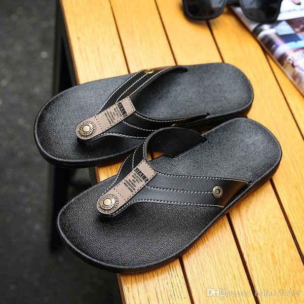 Designer Slippers Brand men leather Sandals Shoes Slide Summer Fashion Wide Flat Slippery With Thick Sandals Slipper beach flip flops