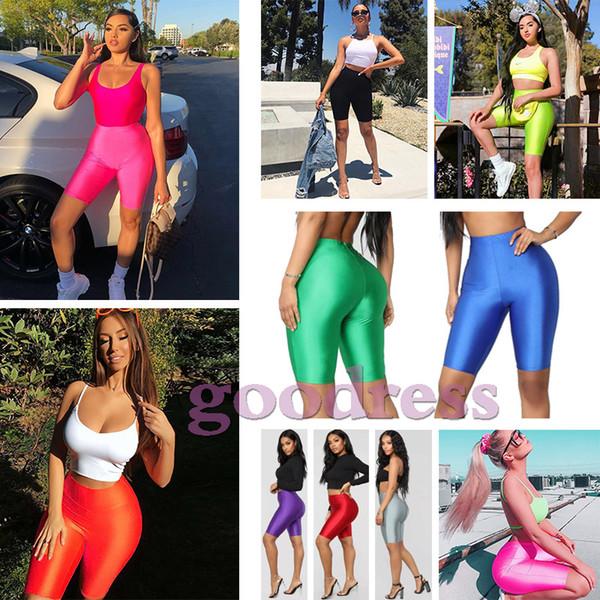 best selling Summer women Biker Shorts Sexy Solid Glossy Fluorescence bodycon Tracksuit leggings Slim High Waist elastic Shorts ladies fashion Streetwear