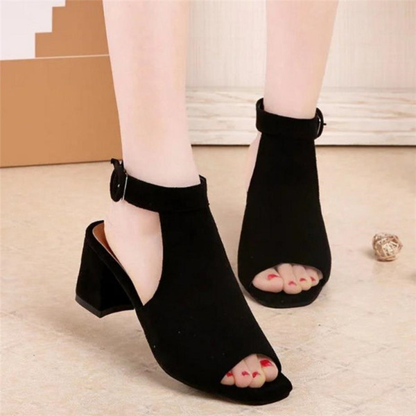 2019 2019 Fashion Women Pumps Sexy Open Toe Heels Sandals Woman sandals Thick with Women Shoes High heels s118-1