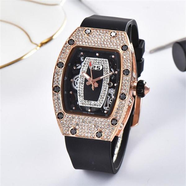Senhoras moda de alta qualidade vestido de relógio de discagem embutimento de strass relógios de quartzo Mulheres relógios de diamante de borracha alça de mulheres relógio de quartzo