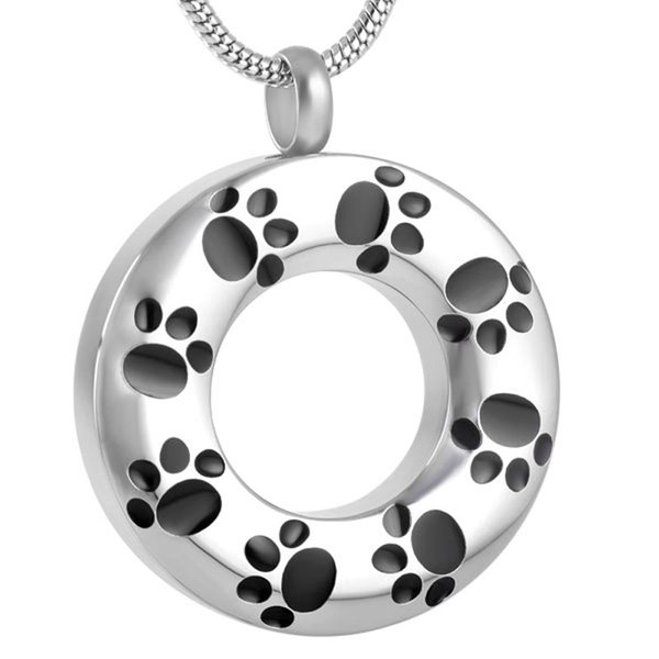 IJD8084 Paw Print Round Dog/Cat Cremation Urn Necklace Pendant Ashes Memorial Jewelry with Filling Kit