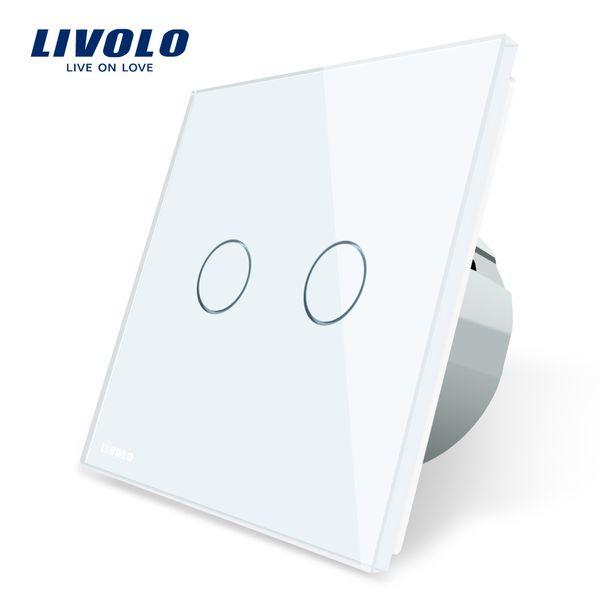 Interrupteur tactile mural 1 voie Livolo 2 panneaux, panneau de commutation en verre blanc, norme UE, 220-250V, VL-C702-1 / 2/3/5