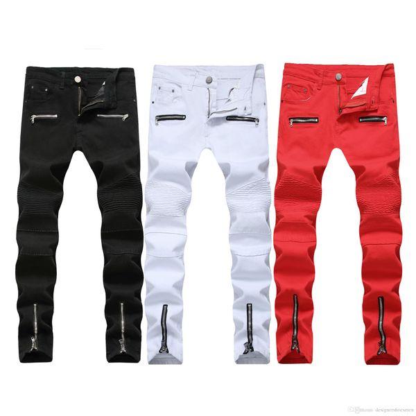 Marca plissadas Homens Lápis Jeans Casual cor sólida Mid cintura Designer calças dos homens Moda Vestuário Masculino